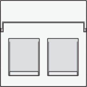 Plaques centrales -Enjoliveur 2x RJ11/RJ45 plate, avec porte-étiquette plein, BLANC steel