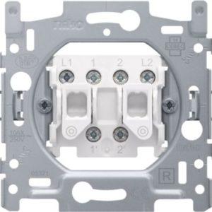 Interrupteurs et bouton-Socle double bouton poussoir 10A 250V AC, NO/NF