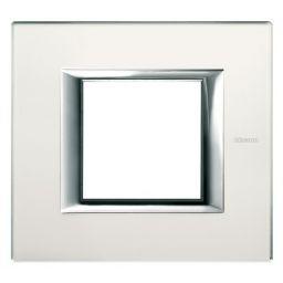 Plaques de recouvrement -Plaque rectangulaire Axolute - verre miroir dépoli - 2 modules - 104x95 mm
