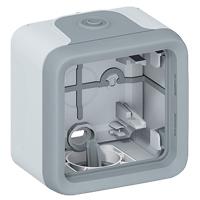Boîtiers apparent -Plexo boitier 1 poste Entrees a embouts gris