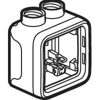 Boîtiers apparent -Plexo boitier 1 poste 2 entrees m20 gris