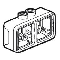 Boîtiers apparent -Plexo boitier hor. 2 post 2 entrees m20 gris