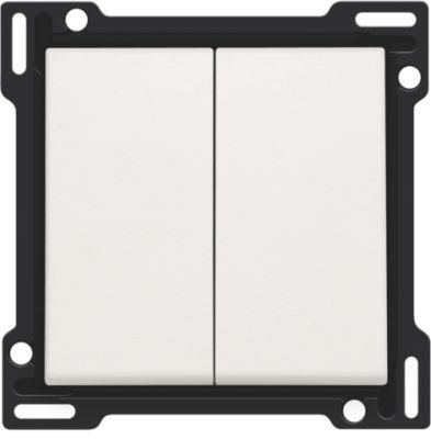 Plaques centrales -Manette double pour bouton poussoir, blanc