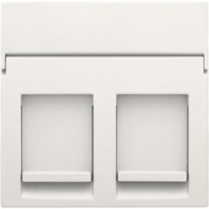 Plaques centrales -Enjoliveur 2x RJ11/RJ45 plate, avec porte-étiquette plein, blanc