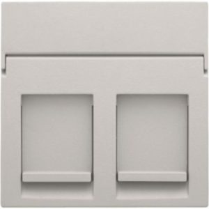 Plaques centrales -Enjoliveur 1x RJ11/RJ45 plate, avec porte-étiquette plein, gris clair