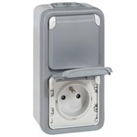 Prises -Plexo prise 2x2P+T vert. GP gris appareil complet