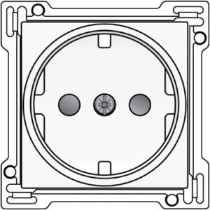 Plaques centrales -Enjoliveur pour prise de courant avec terre latérale et sécurité, blanc