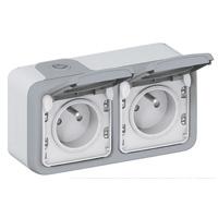 Prises -Plexo prise 2x2P+T hor. GP gris appareil complet