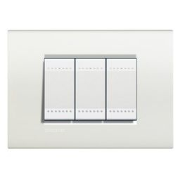 Plaques de recouvrement -LivingLight - Plaque rectangulaire 3 modules blanc