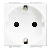 Prises -LivingLight - Prise schuko 2P+T 16A 250V 2 modules bornes auto blanc