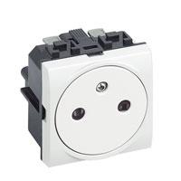 Prises -LivingLight - Prise affleurant 2P+T 16A 250V 2 modules bornes auto blanc