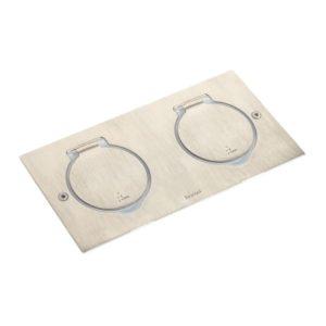Plaques de recouvrement -Prises de sol rectangulaire 2x2P+T inox