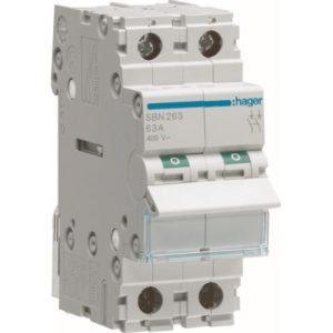 Interrupteurs modulaires -Interrupteur modulaire 2 pôles 63A
