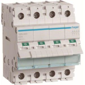 Interrupteurs modulaires -Interrupteur modulaire 4 pôles 63A