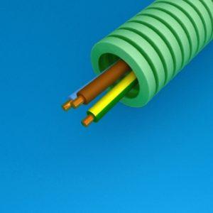 Tube précâblé -Preflex tube précâblé 20mm LS0H vert + fil H07Z1-U 3G2,5mm²