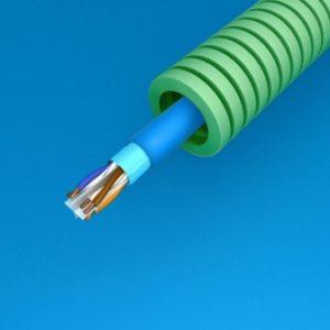 Tube précâblé -Preflex tube précâblé 16mm LS0H vert + data F/UTP CAT6A