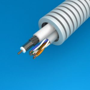 Tube précâblé -Preflex tube précâblé 20mm + câble data U/UTP5E-4P + TRI6 HIRSCHMANN
