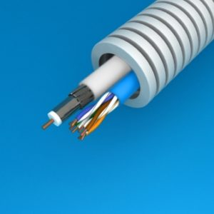 Tube précâblé -Preflex tube précâblé 20mm + câble data U/UTP6 + TRI6 HIRSCHMANN