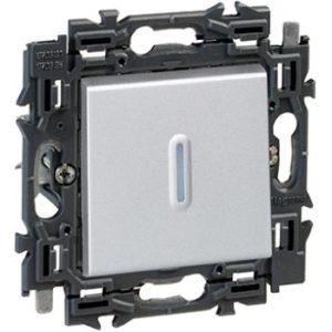 Interrupteurs et bouton-Valena Next poussoir à voyant 6A appareil complet alu à griffes