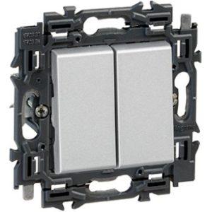 Interrupteurs et bouton-Valena Next double poussoir 6A appareil complet alu à griffes