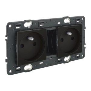 Prises -Valena Next prise 2x2P+T précâblée appareil complet noir à vis