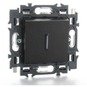 Interrupteurs et bouton-Valena Next poussoir à voyant 6A appareil complet noir à griffes