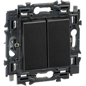Interrupteurs et bouton-Valena Next double poussoir 6A appareil complet noir à griffes