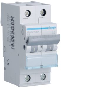Disjoncteurs -Disjoncteur 3kA - C - 2P - 6A - 2M