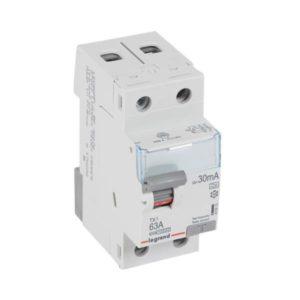 Protection différentielle -Interrupteur différentiel TX³ 2P 30mA 63A Type A - 2 modules