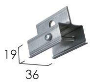 Accessoires -Pièce de jonction pour rails conducteurs suspendus par câble d'acier gris 50mm
