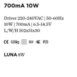 Accessoires -DRIVER 700mA 10W 102x51x30mm pour Luna 8W