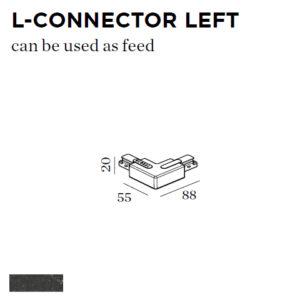 Accessoires -L-CONNECTOR LEFT 88x55x20mm noir