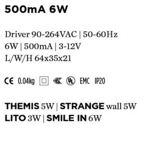 Accessoires -DRIVER 500mA 6W 64x35x21mm