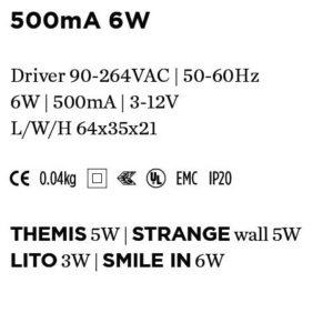 Accessoires -DRIVER 500mA 6W 64x35x21mm