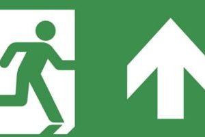 Éclairage de sécurité -Horizon pictogramme ISO 7010 mural sortie de secours vers le haut