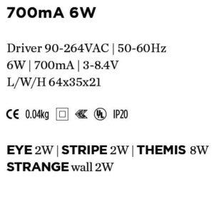 Accessoires -DRIVER 700mA 6W 64x35x21