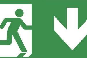 Éclairage de sécurité -Evago plaque perspex indication chemin de fuite vers le bas