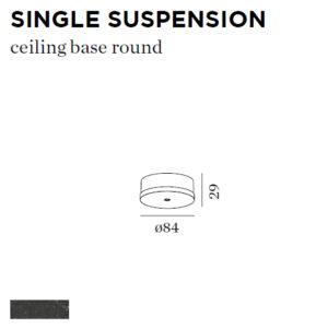 Accessoires -CEILING BASE SINGLE SUSP noir