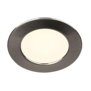 Éclairage interieur -DL 126 plafonnier encastré LED 2,8W 2700K alu/plastique rond métal brossé