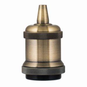 Accessoires -Douille   retro   alu, gaine bronze antique E27 kit complet, Max 60W