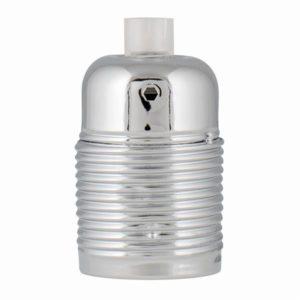 Accessoires -Douille métal chrome E27, instal:câble 3 conducteurs avec fil de terre, Max 60W