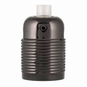 Accessoires -Douille métal noir E27, instal:câble 3 conducteurs avec fil de terre, Max 60W