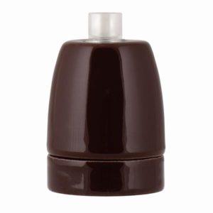 Accessoires -Douille en porcelaine brun E27  Max 60W
