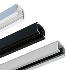 Éclairage interieur -Rail conducteur triphasé apparent L1000mm blanc RAL9016