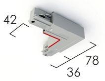 Éclairage interieur -Raccord d'angle avec possibilité d'alimentation, terre intérieure blanc RAL9016