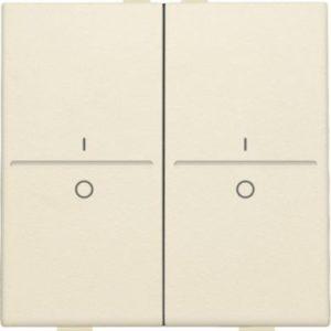 Domotique -Manette double I-0 pour poussoir câble-bus ou RF émetteur mural, crème