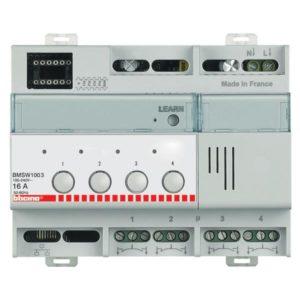 Domotique -SCS - actuateur BUS 4 x 16A 4 sorties 16A - 6 mod DIN