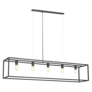 Éclairage interieur -KAGO pendule rectangle - 5x E27 - acier - max 60W - 300mm x 1500mm - noir