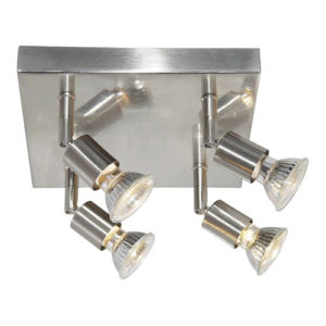 Éclairage interieur -RUNE - 4x GU10 5W - 2700K - acier - 230mm x 230mm x 150mm - acier brossé