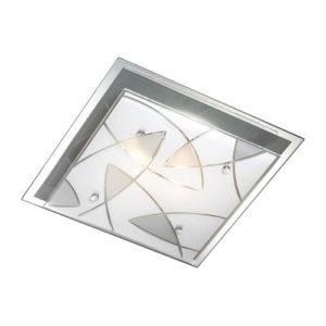 Éclairage interieur -ASARI - 2x E27 - acier / verre - max 60W - 335mm x 335mm x 85mm - chromé